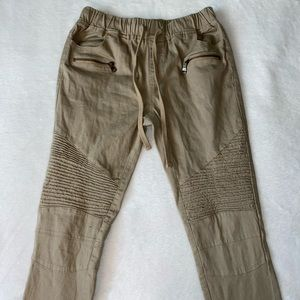 Drawstring Tan Khaki Pants With Lines & Zi…